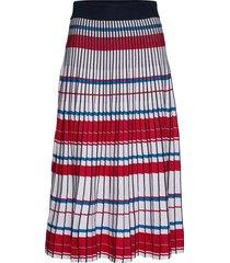 pleated knit midi skirt knälång kjol multi/mönstrad banana republic