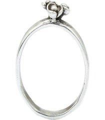 anel buque de flores prata 925
