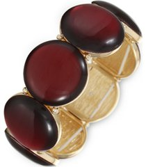 style & co gold-tone resin stone stretch bracelet, created for macy's