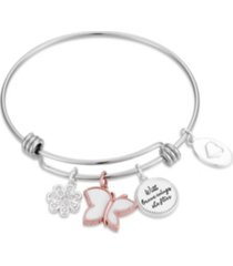 "two-rose mother of pearl ""with brave wings she flys"" butterfly bangle bracelet in stainless steel with silver plated charms"