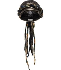 saint laurent lamé-silk tied turban - gold