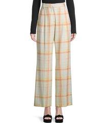 m missoni women's plaid pleated straight trousers - marshmallow - size 40 (4)