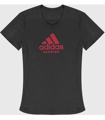 camiseta gris-fucsia adidas performance logo estampado