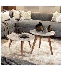 conjunto mesa centro e lateral retrô cissa - off white - compre aqui