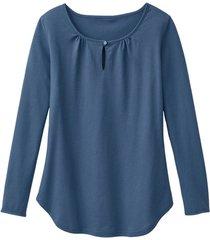 shirt met lange mouw en druppelhals, rookblauw 36