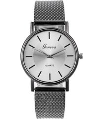 reloj pulsera mujer cuarzo pulso pu aa10 negro plateado b