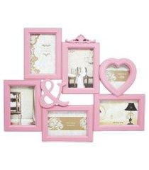 porta retrato minas de presentes 6 fotos rosa