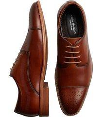 carlo morandi men's eastman cognac medallion cap toe derbys - size: 10 d-width