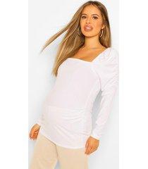 zwangerschaps top met vierkante hals en pofmouwen, white