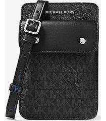 mk borsa a tracolla con logo per smartphone - nero (nero) - michael kors