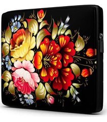 capa para notebook isoprene floral 15 polegadas com bolso feminina
