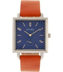 simplify quartz the 5000 blue dial, genuine brown leather watch 38mm