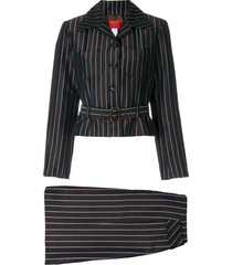 kenzo pre-owned striped belted skirt suit - brown