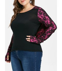 floral lace plus size long sleeve hoodie
