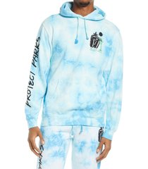 men's parks project tie dye hugging tree men's graphic hoodie, size small - blue