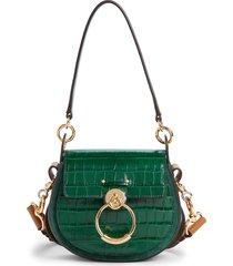 chloe small tess croc embossed calfskin shoulder bag - green