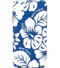 palm angels floral-print iphone x case - blue