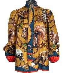 animal print twill blouse