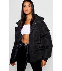 gewatteerde oversized jas met capuchon, zwart