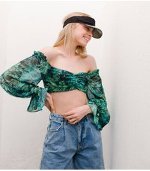 blouse met tropische print en blote schouders