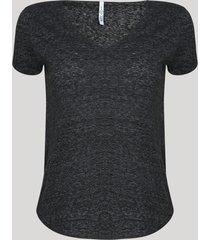 blusa feminina básica manga curta decote v preto