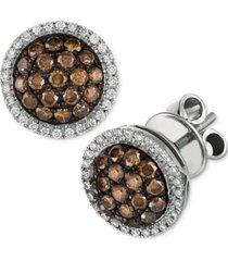 le vian chocolate diamond & vanilla diamond ring halo cluster stud earrings (3/4 ct. t.w.) in 14k white gold