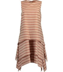 striped crewneck tiered dress