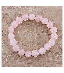 rose quartz beaded stretch bracelet, 'pink dawn' (india)