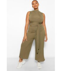 plus rib high neck culotte jumpsuit, khaki