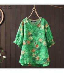 zanzea camisa casual con estampado floral de 1/2 manga para mujer blusa con cuello redondo tallas grandes -verde