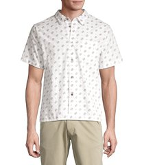 john varvatos men's trent short sleeve shirt - white - size l