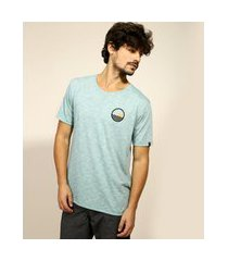 "camiseta masculina classic surfing"" manga curta gola careca azul claro"""