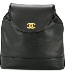 chanel pre-owned 1994-1996 cc embroidered chain backpack - black