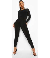 strakke jumpsuit met open rug en textuur, black