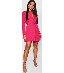 blazer jurk met ceintuur en zak detail, roze