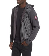 men's canada goose windbridge zip hoodie, size large - grey