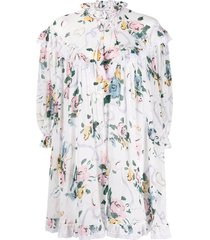 floral ribbon print negligee baby doll cape dress