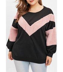 chevron faux fur trim plus size sweatshirt