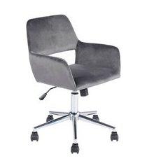 cadeira de escritório secretária giratória ross cinza aveludado