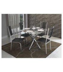 conjunto mesa volga com 4 cadeiras lisboa preto e cromado kappesberg crome