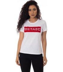 camiseta metade meio inteiro thiago brado 6027000006 branco - branco - pp - feminino