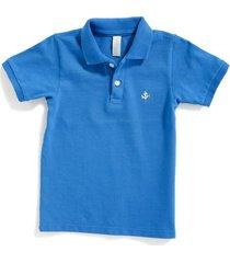 camiseta tipo polo alan azul rey con cuello tejido