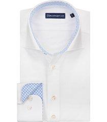 sleeve7 overhemd wit lichtblauw contrast royal twill slim fit