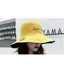 sombrero de sol para mujer exterior de doble cara amarillo