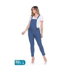 macacão megadose moda gestante longo azul jeans