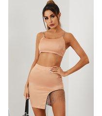 yoins conjunto de camisola y minifalda sin mangas con diseño de borlas y cadena con dobladillo recortado en rosa
