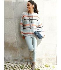trui amy vermont grijs::oranje::blauw