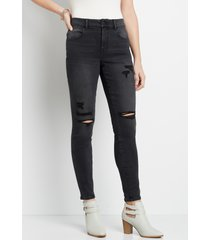 maurices womens jeans vintage black high rise ripped jegging
