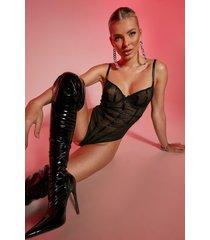valentijns strakke mesh body met beugel, black