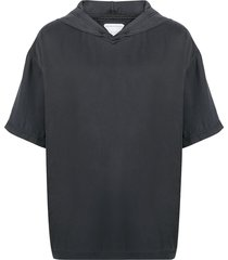 bottega veneta hooded short-sleeve sweatshirt - black